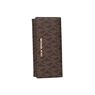 08692db69e1c19 Michael Kors Jet Set Travel PVC Signature Carryall LTR Clutch Wallet in  Brown …