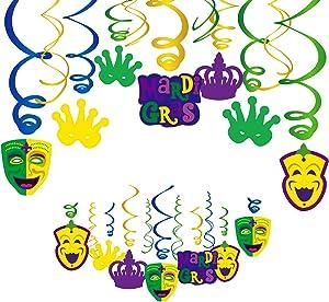 Konsait Mardi Gras Hanging Swirl Decoration(30Pack), Mardi Gras Swirls Carnival Birthday Party Spirals Home Ceiling Wall Decor for Mexican Fiesta Crown Face Garland Favor Supplies Decor