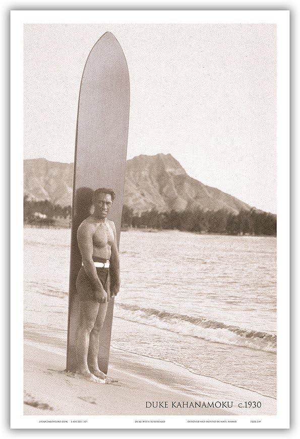 Duke Kahanamoku at Waikiki Beach Hawai'i - Olympic Gold Medalist Swimming, World Surfing Ambassador - Vintage Real Photo Postcard by Tai Sing Loo c.1930 - Master Art Print 12in x 18in