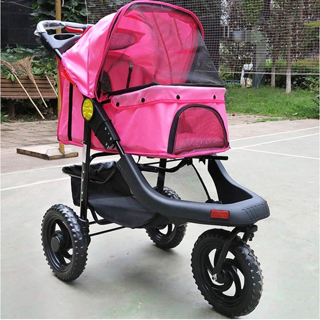 V.JUST Large Three-Wheel Folding Pet Stroller Dog Cat Stroller Cage Supplies,B