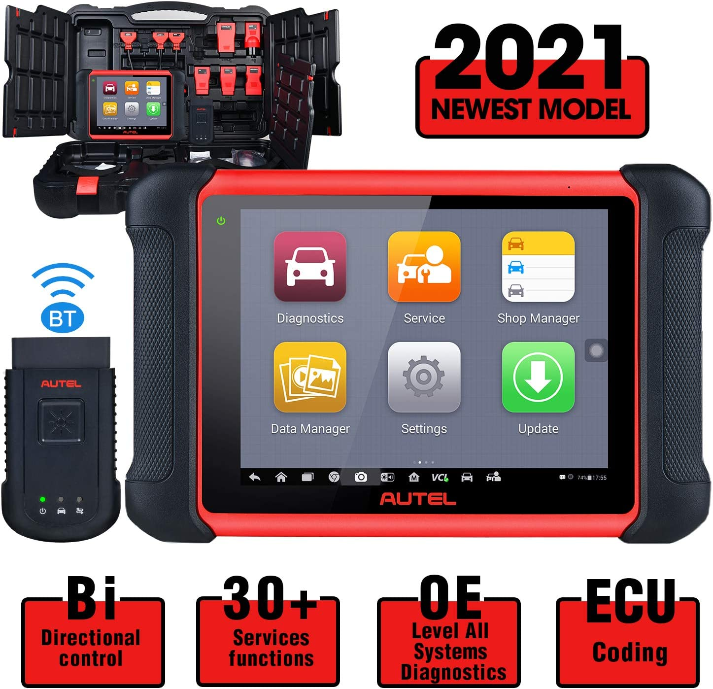 Autel MaxiCOM MK906BT Automotive Scan Tool, 2021 Newest [Same as MS908/MS906BT] All System Diagnostics Scanner, ECU Coding, Bi-Directional Control, 31 Services, ABS Bleed, EPB, Transmission