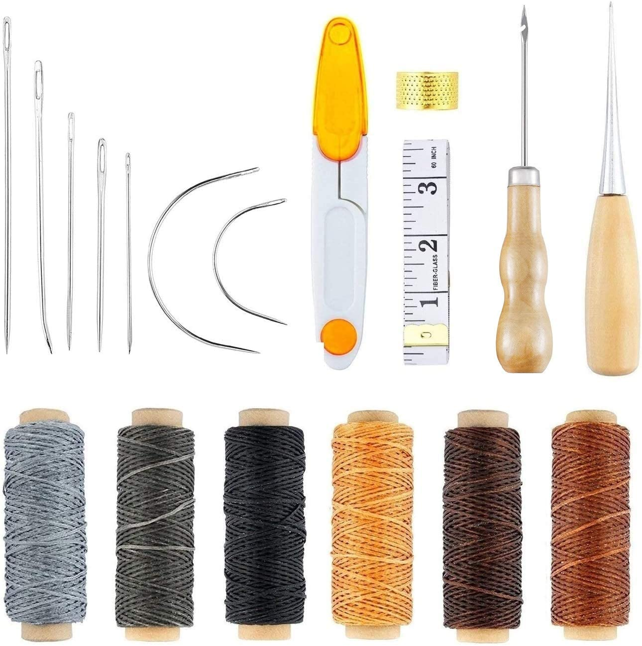 18 Pieces Leather Craft Tool Leather Hand Sewing Needles Upholstery Carpet Leather Canvas DIY Sewing Accessories