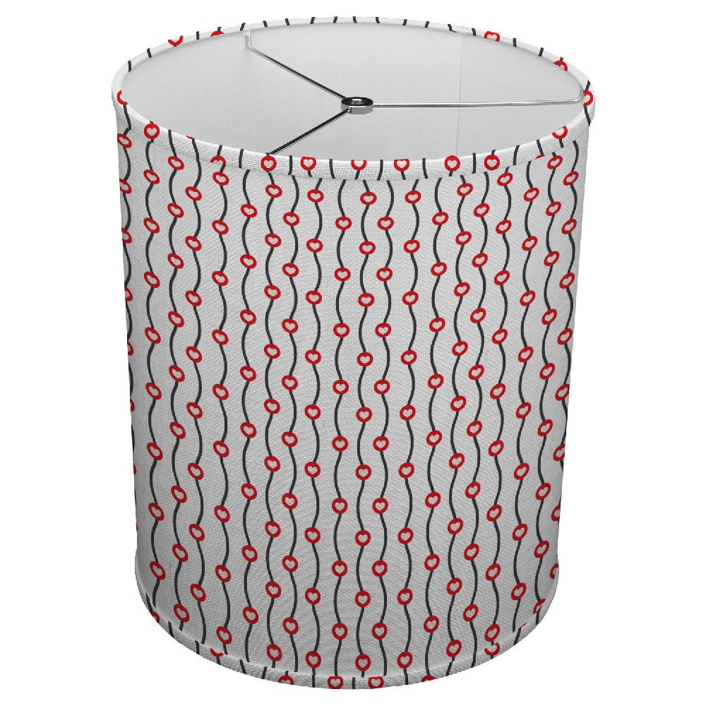 Hardback Linen Drum Cylinder Lamp Shade 8'' x 8'' x 8'' Spider Construction [ Lines Heart Love Red ]