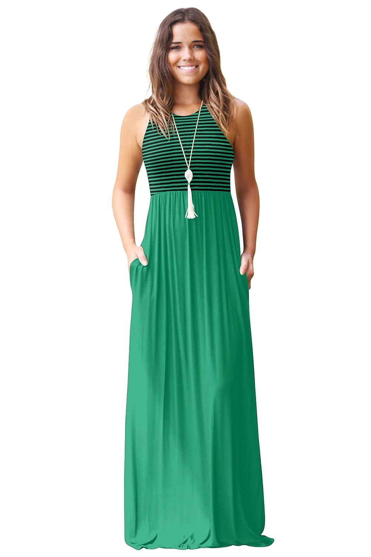 Blazar Damen Sommerkleid Kleider Maxikleid Neckholder /Ärmellos Bodenlanges Lang Kleid Partykleid mit Taschen