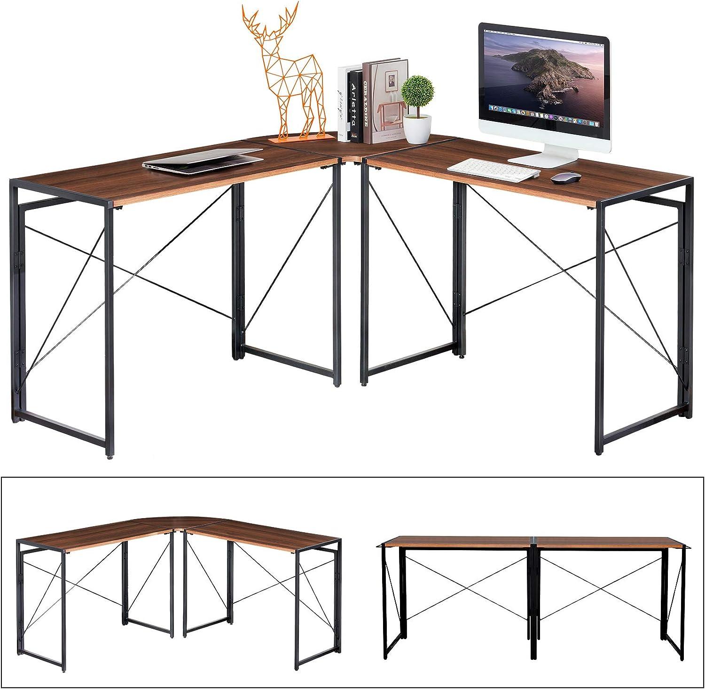 JBBCN L-Shaped Computer Desk, Home Gaming Desk 3 Use Mode Adjustable Corner Desk, Office Writing Workstation with Large Desktop, Space-Saving, Easy to Assemble (L Desk)