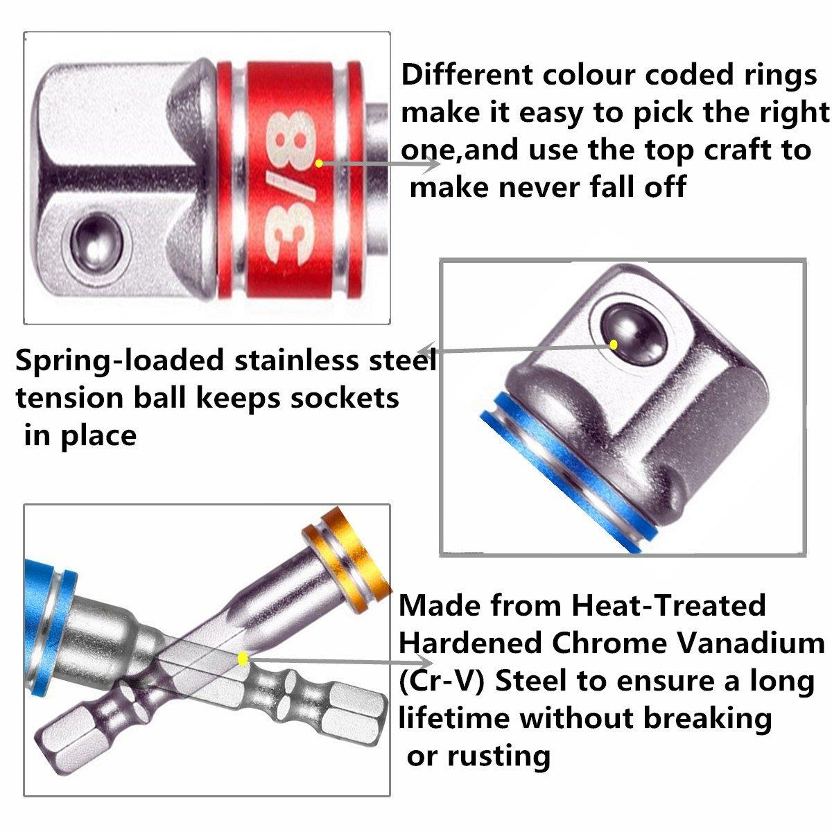 3Pcs 1//4 3//8 1//2 Cordless Impact Grade Socket Adapter Extension Set,for Universal Socket,Universal Joint Set,Socket Adapter and Drive Reducer Set,Drive Impact Socket Extension Bar Set,Automotive