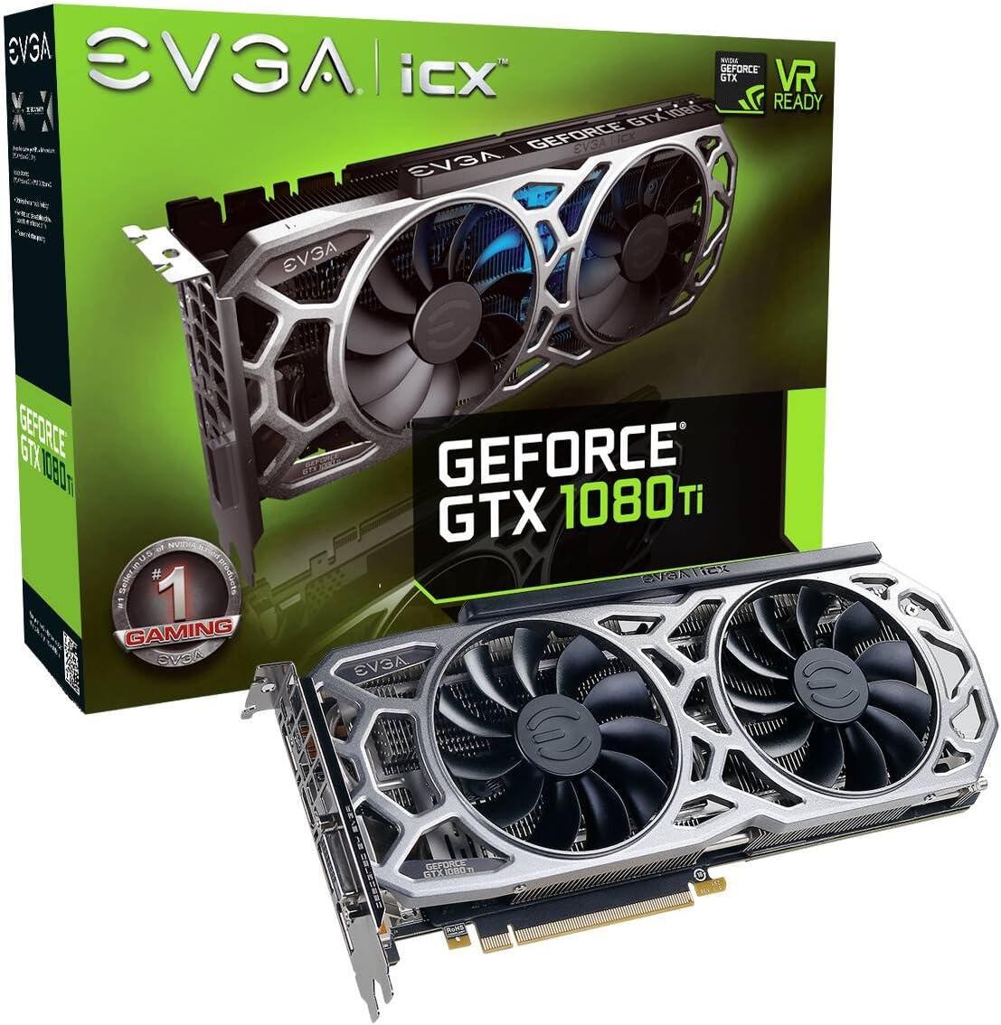 EVGA GeForce GTX 1080 Ti Gaming 11GB GDDR5X iCX Technology - 9 Thermal Sensors & RGB LED G/P/M Graphic Cards (11G-P4-6591-KR)