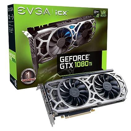 EVGA GeForce GTX 1080 Ti SC2 Gaming, 11 GB GDDR5X, tecnología iCX - 9 sensores térmicos y LED RGB G / P / M, Ventilador Asynch, optimizada para diseño ...