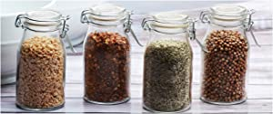 Circleware Clear Mini Round Glass Spice Jar with Swing Top Hermetic Airtight Locking Lid, Set of 4 Kitchen Glassware Food Preserving Storage Containers for Coffee, Sugar, Tea, 6.25 oz