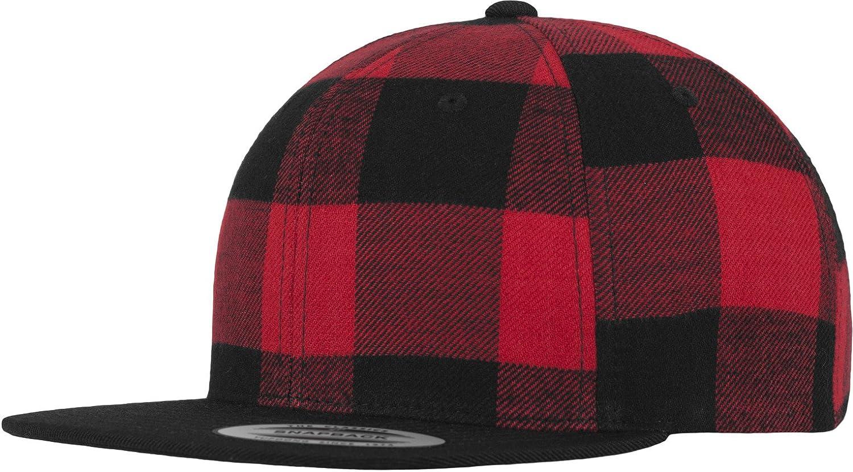 Flexfit Snapback cuadros negro rojo cuadrícula Gorra Skater Skate ...