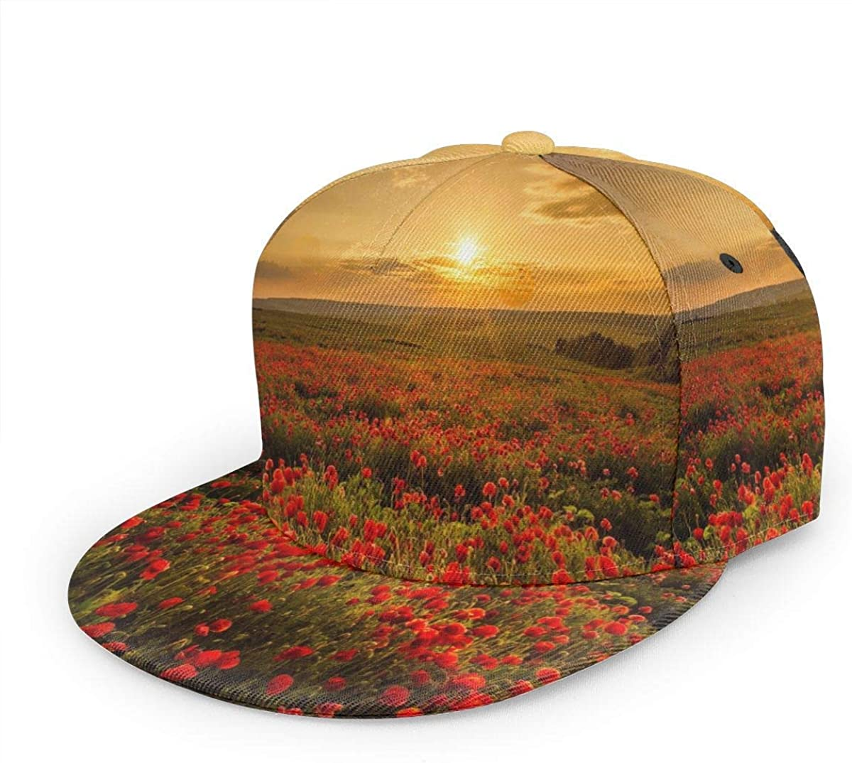 Poppy Field Sunset Red Lightweight Unisex Baseball Caps Adjustable Breathable Sun Hat for Sport Outdoor