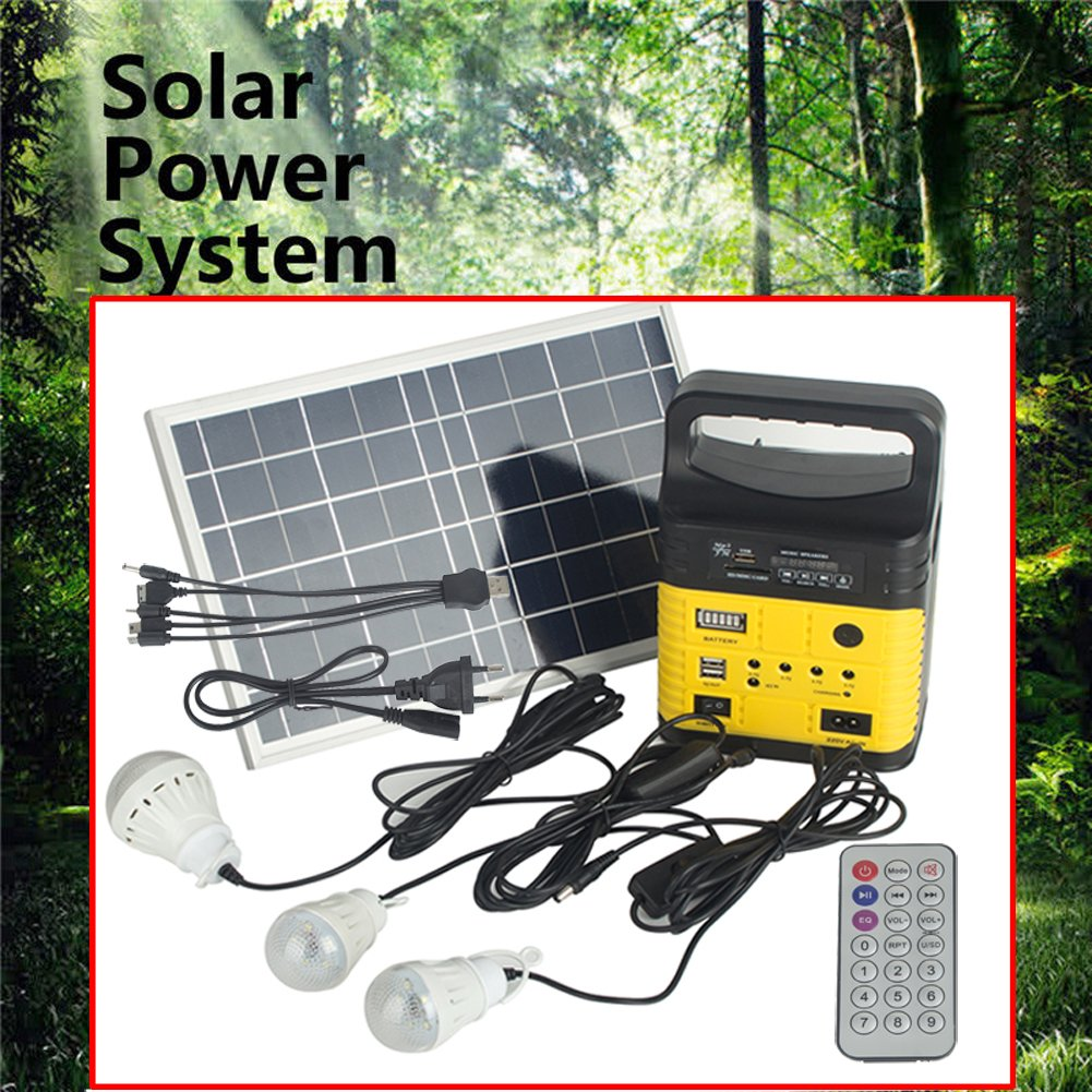 DODOING Solar Power Generator Portable kit, Solar Generator System for Home Garden Outdoor Camping, Power Mini DC6W Solar Panel 6V-9Ah Lead-acid Battery Charging LED Light USB Charger System by DODOING (Image #3)