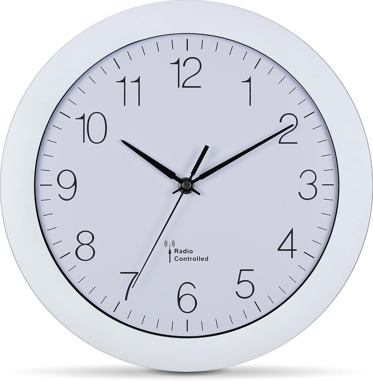 K/üchenwanduhr schwarz leise, 30cm gro/ß, automatische Zeitanpassung und Zeitumstellung von Sommer- und Winterzeit, modernes Ziffernblatt Hama Funk-Wanduhr K/üchenuhr