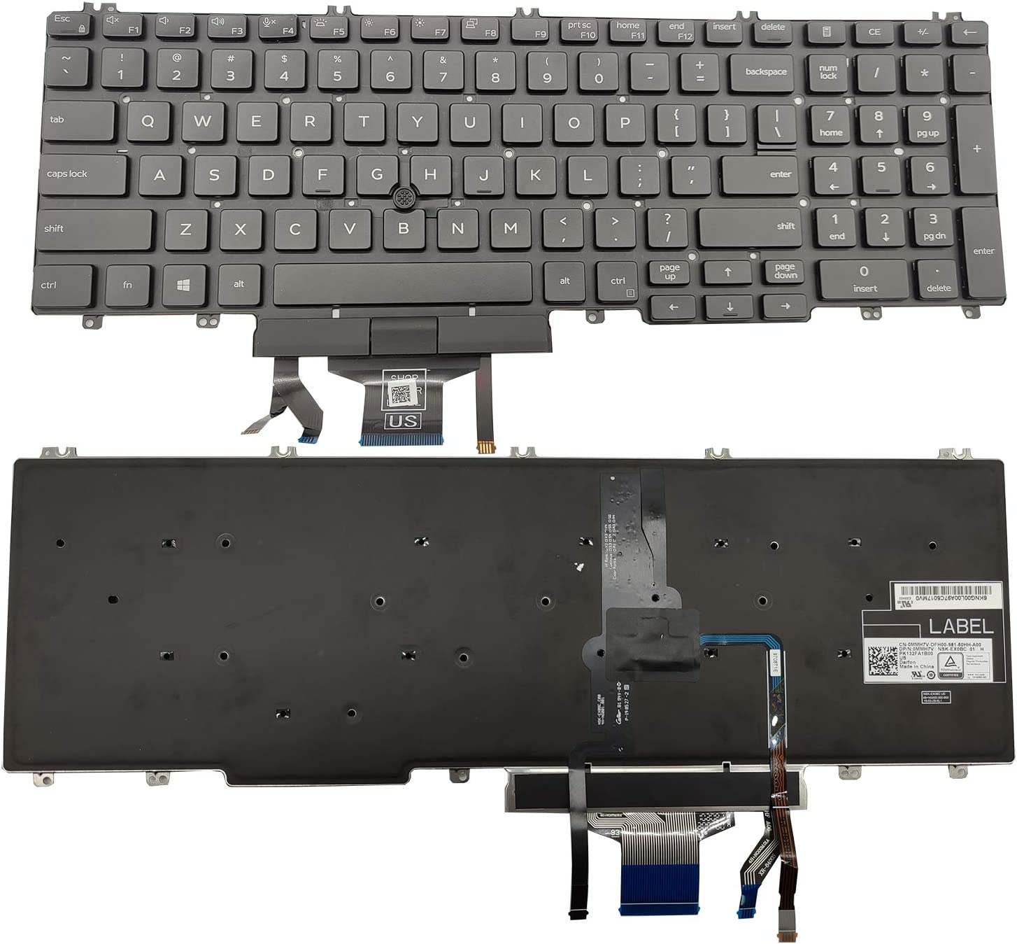 Moon2020 Replacement Keyboard Compatible with Dell Precision 3500 3501 3540 3541, Latitude 5500 5501 5510 Laptop with Backlit with Pointer US Layout 0MMHTV PK132FA1B00 NSK-EX0BC 01 0MMHTV