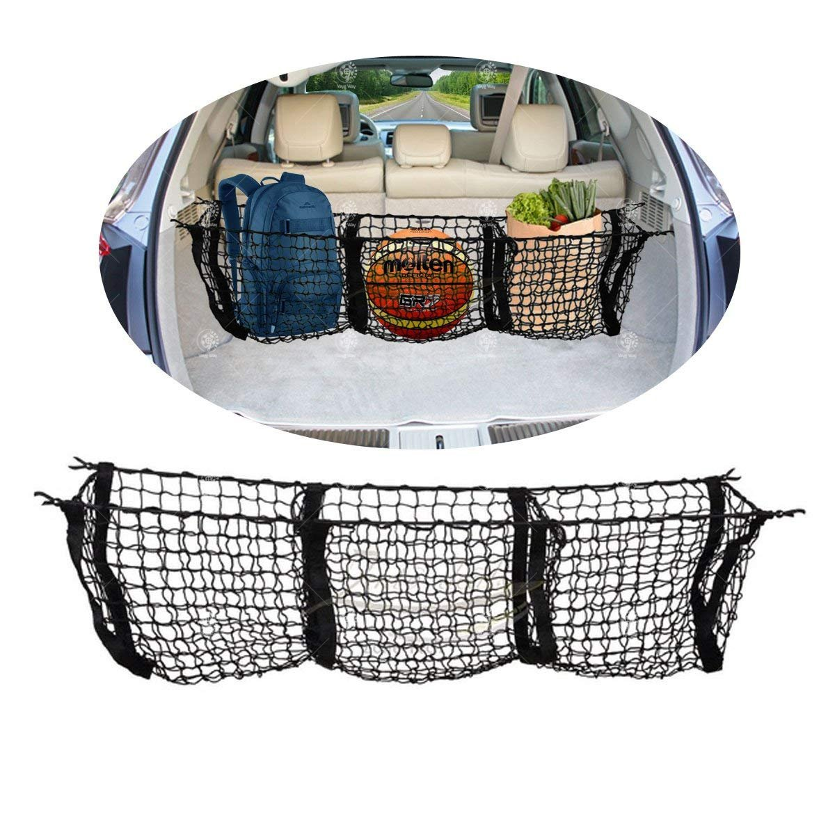 Truck Bed Cargo Net >> Vaygway Mesh Three Pocket Net Truck Bed Cargo Net Organizer Trunk Storage Stretchable Net Car Suv Pickup Truck Bed Divider Organizers
