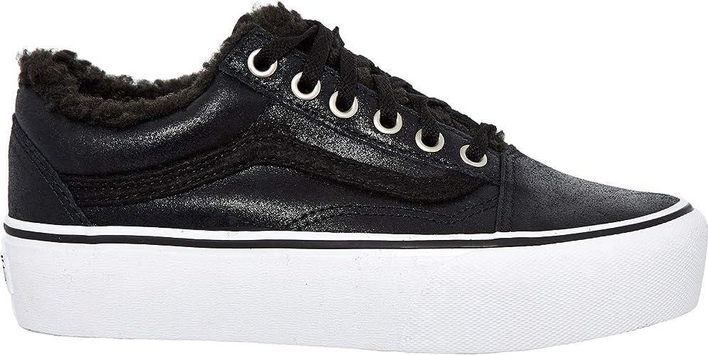 Vans Leather Old Skool Baskets en Cuir Sherpa - Noir - Noir ...