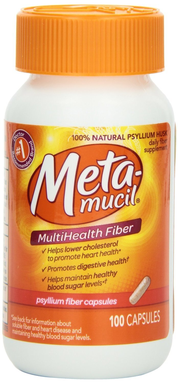 Metamucil Psyllium Fiber Capsules 100 Count (Pack of 6)