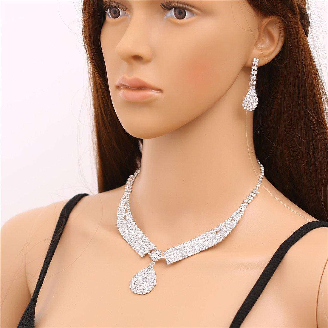 FANCY LOVE Crystal Rhinestone Bridal Necklace Earrings Jewelry Sets by FANCY LOVE JEWELRY (Image #6)