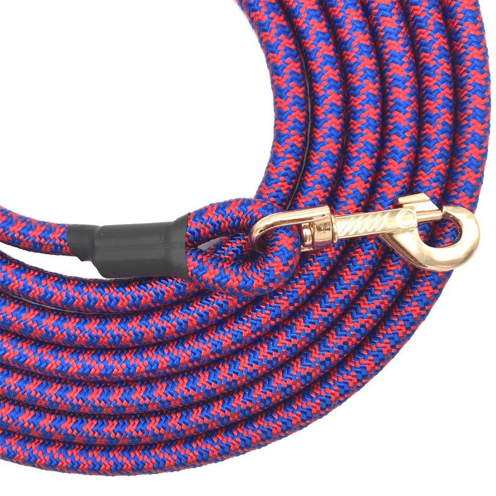 Shorven Nylon Strong Dog Rope Lead Leash Training Dog Lead with Soft Handle 6-20 FT Long Blue/Red (Dia:0.5'' 15FT) by Shorven (Image #3)