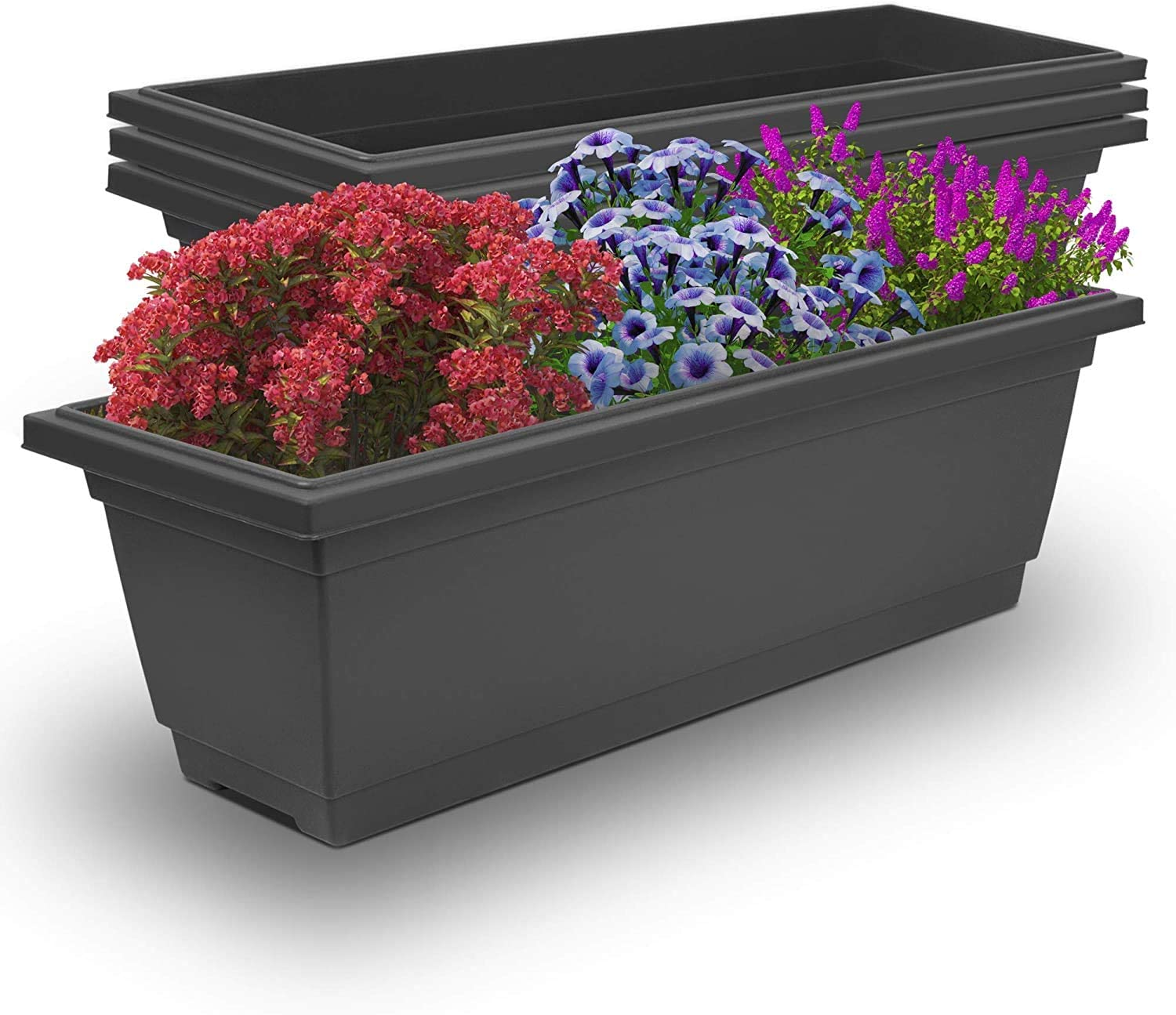 Outland Living Outdoor and Indoor Rectangle Plastic Planter Box Perfect for Herbs Succulents Vegetables and Flower Gardening (Large 4-Pack, Granite Grey)