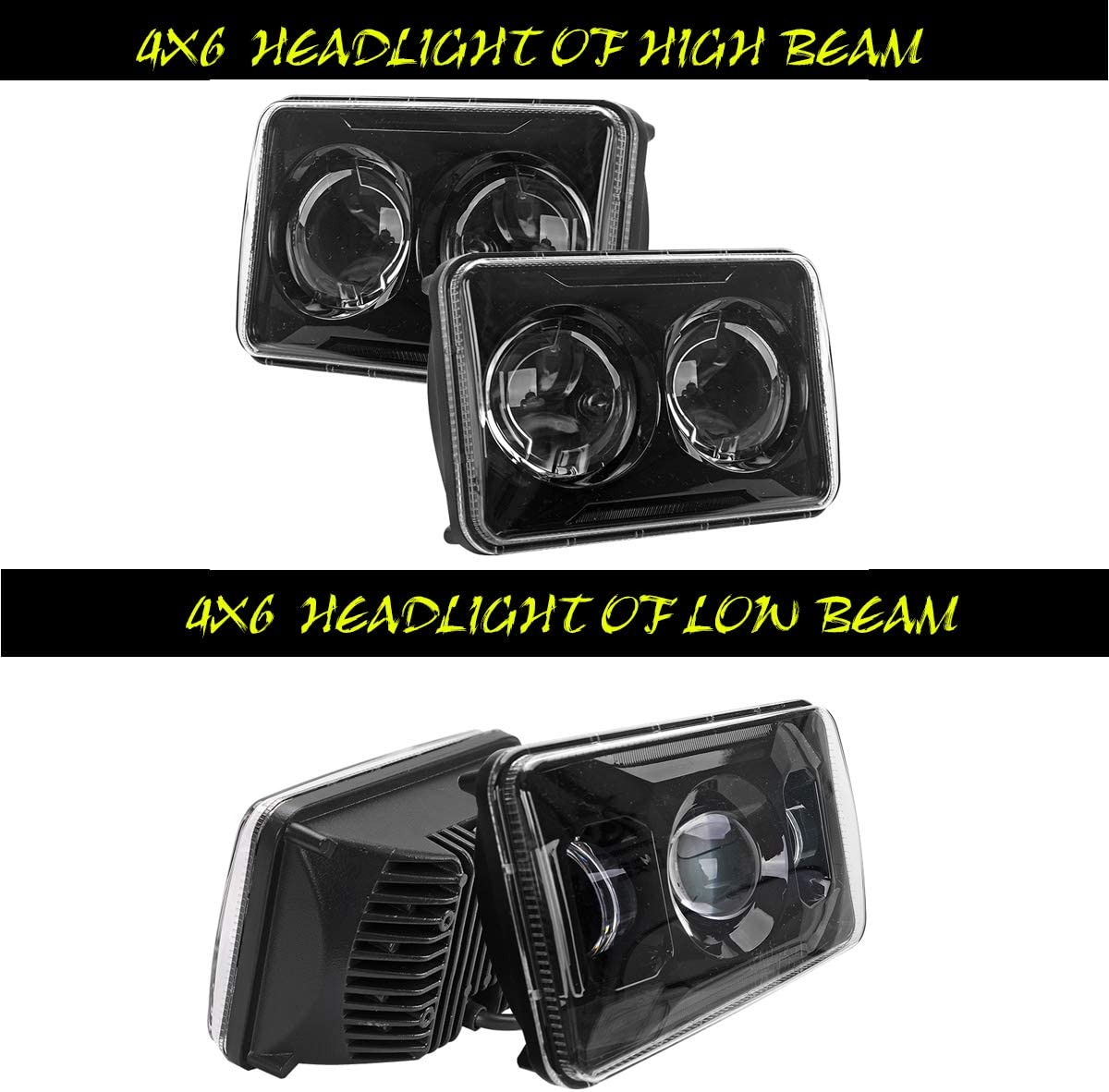 Scientific Hi//lo Beam Separately Replacement for Kenworth T800 T600 Peterbilt 379 Feightliner Oldsmobile Cutlass H4651 H4652 H4656 H4666 H6545 Black DOT Approved 60W 4x6 inch LED Headlights