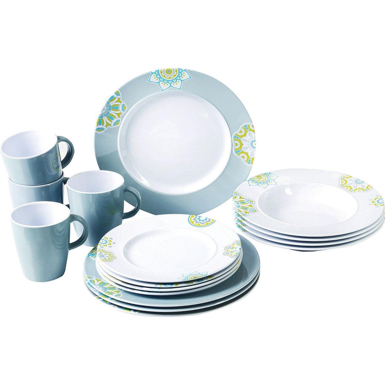 (サンシャ) Sandhya 柄入り メラミン プラスチック 食器 16点セット 皿 プレート マグカップ ディナーウェア (ワンサイズ) (ホワイト/グレー) ワンサイズ ホワイト/グレー B073T8BMBK