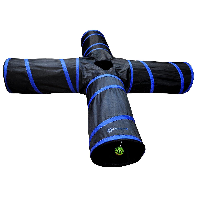 Dark bluee Medium Dark bluee Medium New Cat tunnel Design, Collapsible 4-way Cat Tunnel Toy with Crinkle (Large, Pink) (Medium, Dark bluee)