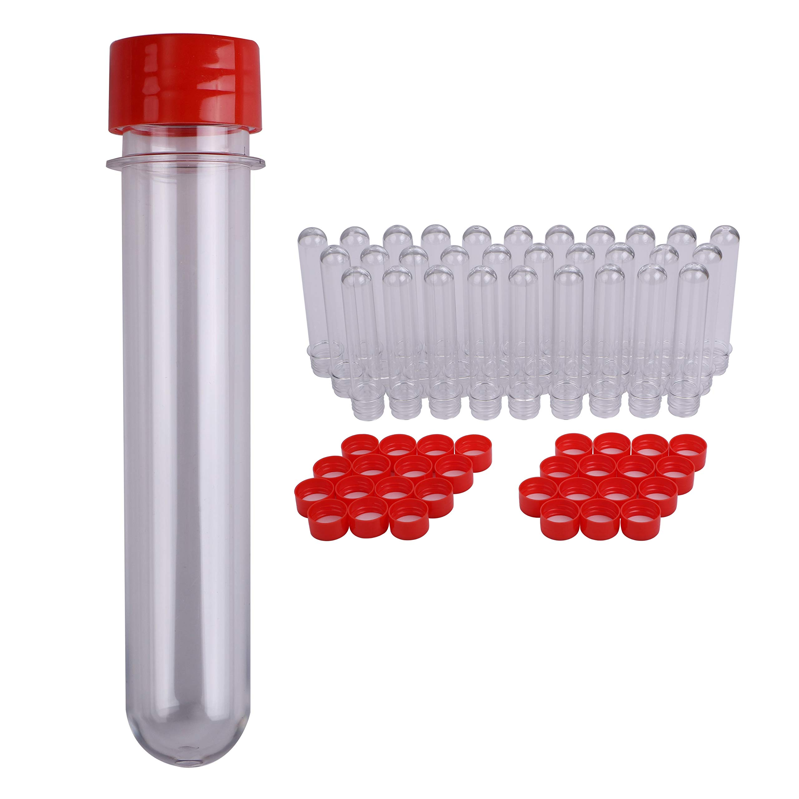 Plastic Test Tubes with Caps (30 pcs) - 140mm x 25mm   45mL - Clear Soda Bottle Preforms Test Tubes with Screw Caps - Bath Salt Containers, Candy, Gumball, Parties, Favors, Alcohol, Geocache (Red)