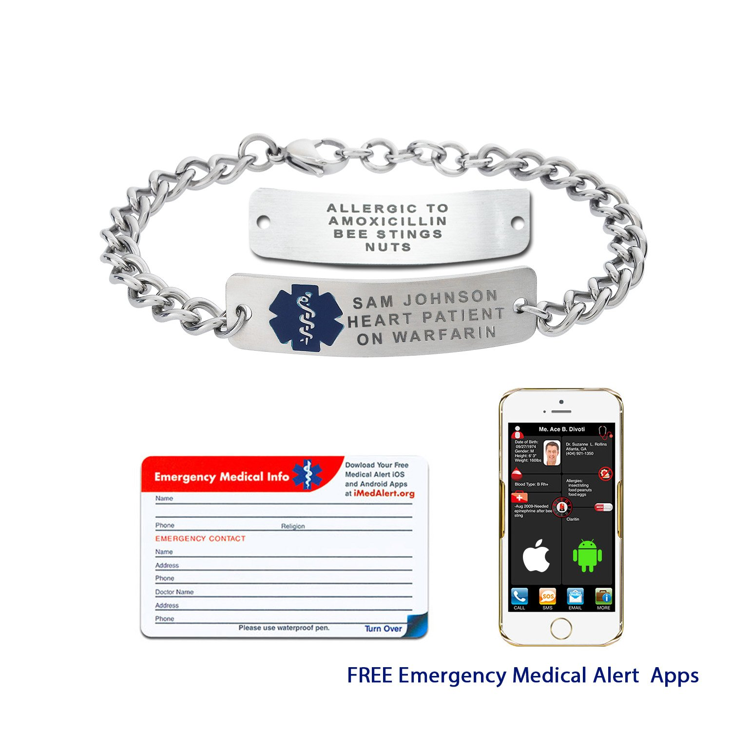 Divoti Custom Engraved Classic Original Stainless Rectangle Tag Medical Alert Bracelet -Blue