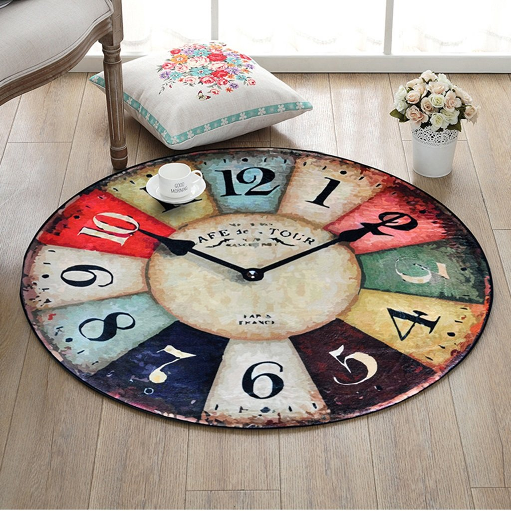 Chi Cheng Fang Electronic business Carpet Retro Wall Clock Round Rug Bedroom Living Room Room Basket Round Mat Desk Computer Chair Mat Suede Skin-friendly (Color : E, Size : 150cm(59inch))