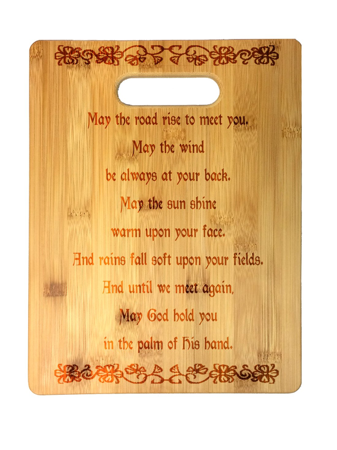 Irish Blessing Prayer May the Road Rise Up Celtic Knot Laser Engraved Bamboo Cutting Board - Wedding, Housewarming, Anniversary, Birthday, St. Patrick's Day, Gift