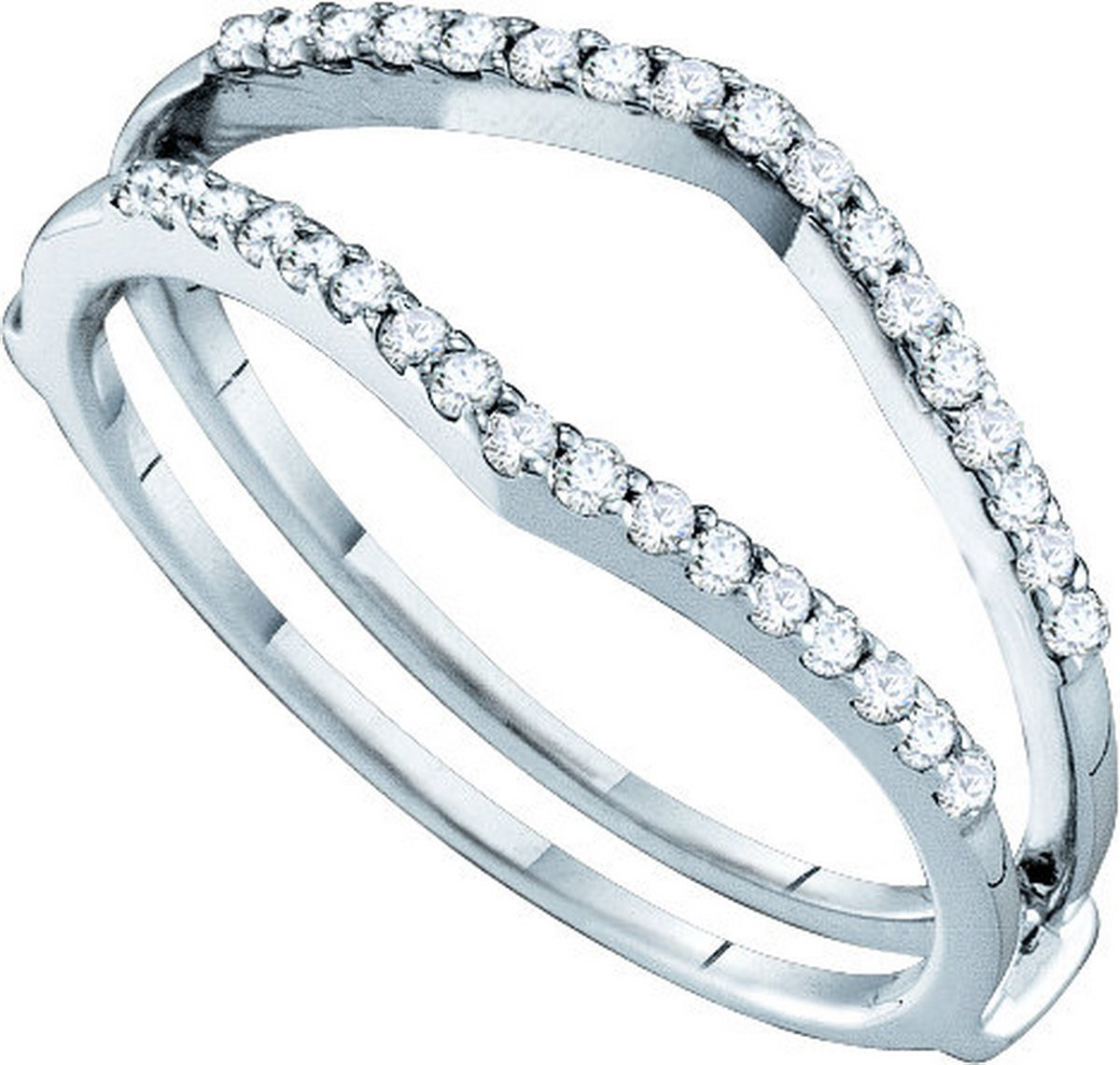 Sonia Jewels Size 9-14k White Gold Round Diamond Ring Guard Wrap Enhancer Wedding Band (1/4 Cttw)
