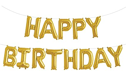 Fecedy Gold Happy Birthday Balloons BannerAluminum Foil Alphabet For Party Decoration