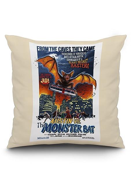 Amazon.com: Austin, Texas - Austin vs The Monster Bat - B Movie Poster (20x20 Spun Polyester Pillow, White Border): Posters & Prints