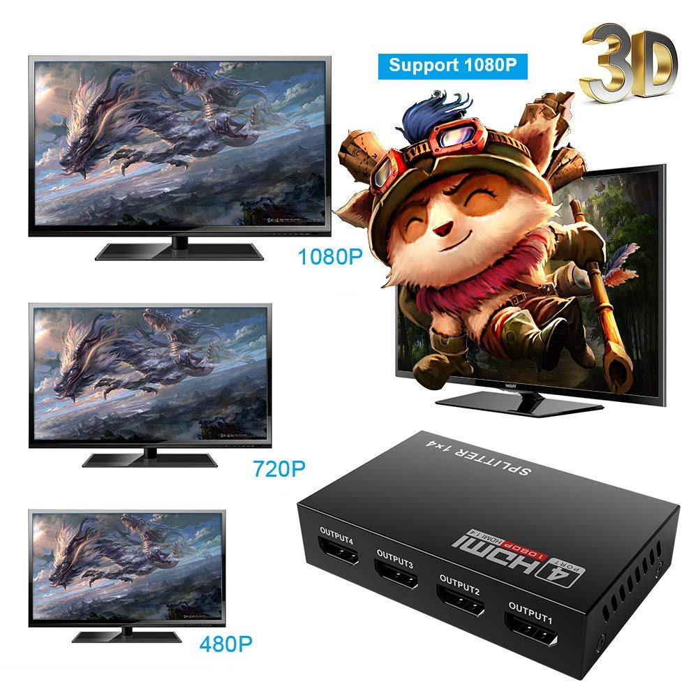 HDMI Splitter 4K 1 in 4 Out Mcscants V1.4B Powered 1x4 Ports Box Video Converter Supports Full Ultra HD 1080P 4K//2K and 3D Resolutions for PS4 Xbox Player HD TV Projector 1 Input to 4 Outputs 4 Way