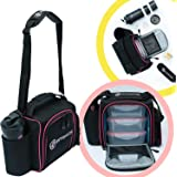 Fitbags: Meal Prep Lunch Box - Stylish Lunch Bags for Women - Meal Prep Containers 3 Compartment - Shaker Bottle, Pill Box, Ice Packs - Eat Healthier and Stay on Track (Black/Pink)