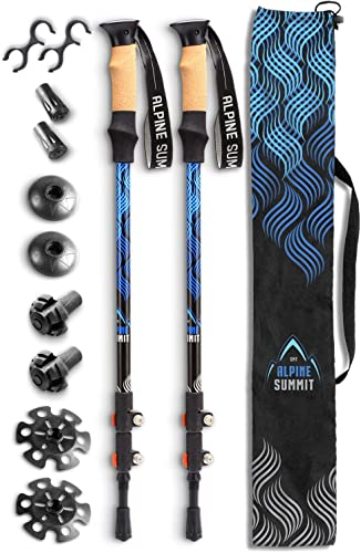 Alpine Summit Hiking Trekking Poles with Quick Locks, Walking Sticks with Strong and Lightweight 7075 Aluminum and Cork Grips – Enjoy The Great Outdoors