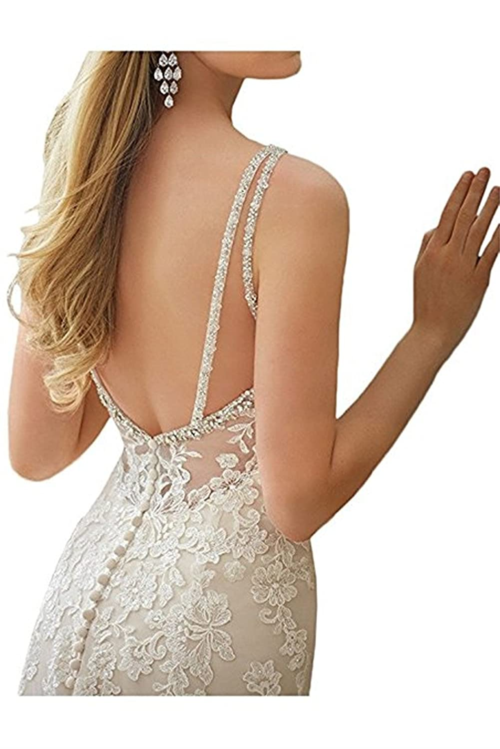 VEPYCLY Womens Gorgeous Sweetheart Applique Lace Beading Wedding Dresses For Bride at Amazon Womens Clothing store: