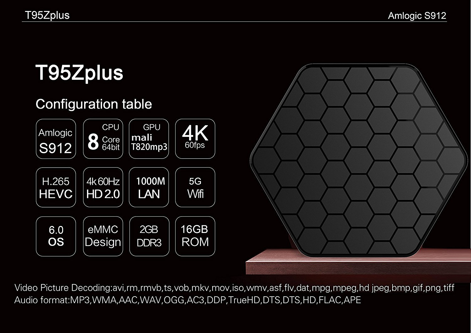 Amazon.com: Android TV Box, Android 7.1 T95Z Plus TV Box with Amlogic S912 Octa-core 2GB DDR3 16GB Emmc Flash Support 2.4G/5G Dual WiFi Bluetooth HDMI HD 4K ...
