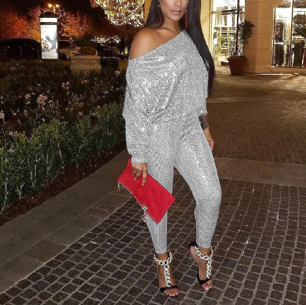 SayahWomen Sequin Jumpsuit Long Sleeve High Waist Pants Shirt Sets