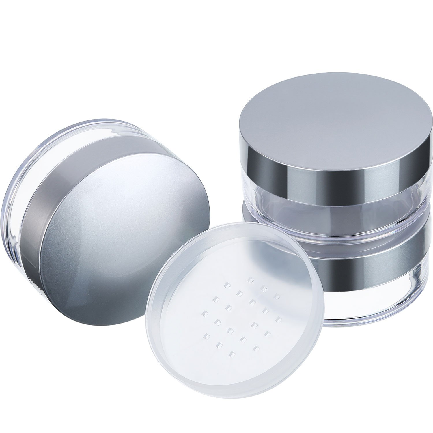 Hotop 3 Pieces 50 ml Plastic Empty Powder Case Face Powder Makeup Jar Travel Kit Blusher Cosmetic Makeup Jars Containers with Sifter and Lids