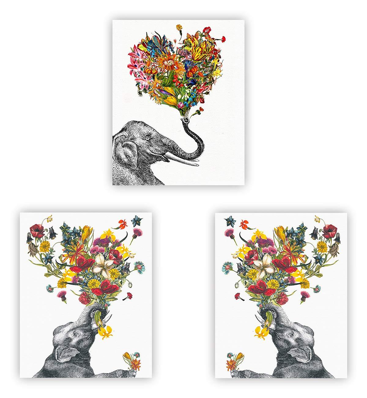 Barri Design Elephant Prints Flowers Print Cute Elephant Flower Wall Art Glitter Watercolor Elephant Wall Decor Set of 3 Elephant Decor Living Room Home Decor (UNFRAMED)