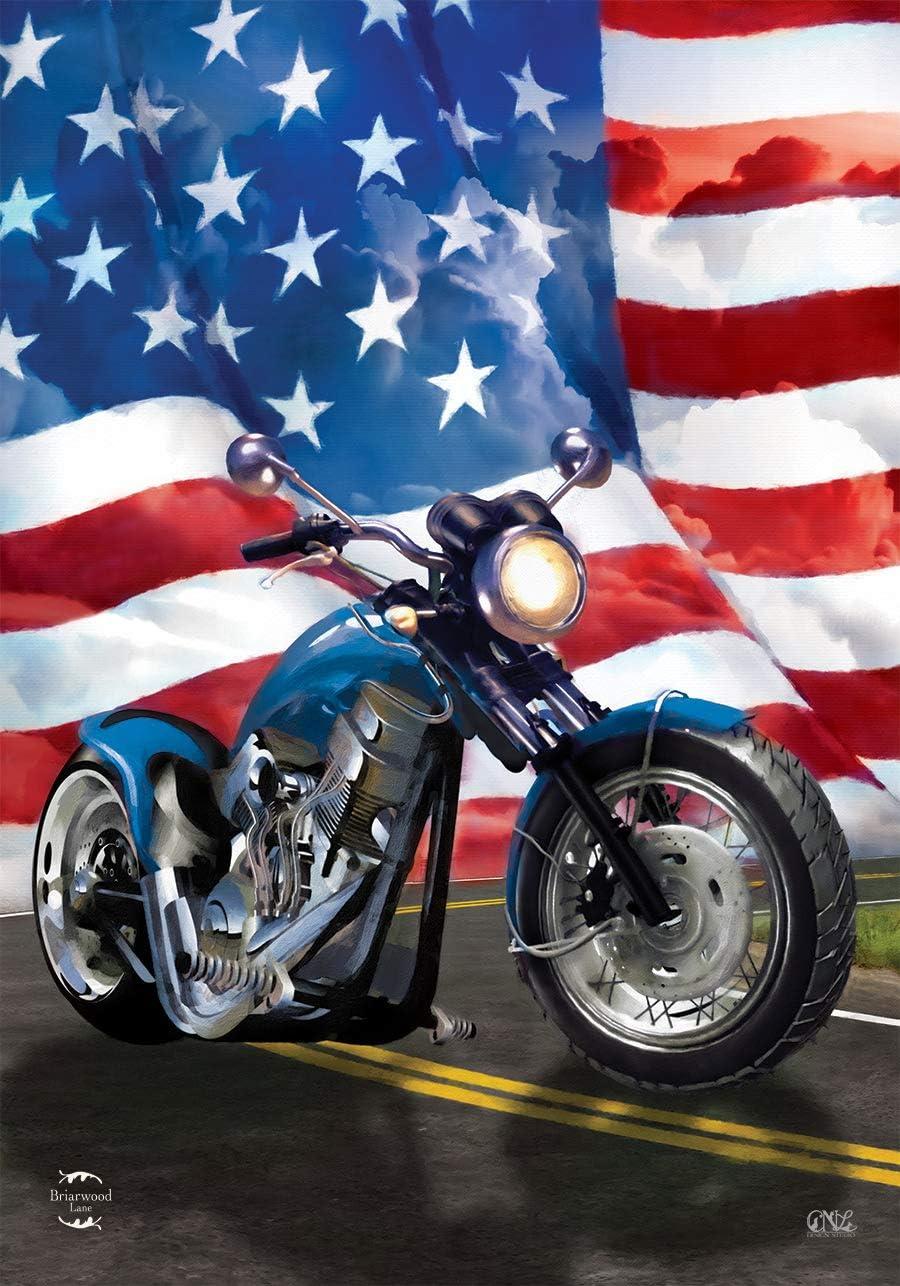 "American Motorcycle Patriotic Garden Flag Summer Bike 12.5/"" x 18/"" Briarwood Lane"