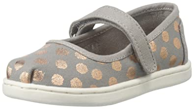 e650b67e60d TOMS Tiny Mary Jane Canvas Printed Flat, 4 Toddler UK, Grey/Rose Gold