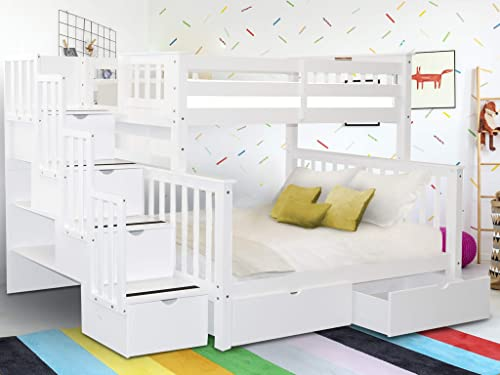Bedz King Stairway Bunk Beds Twin over Full