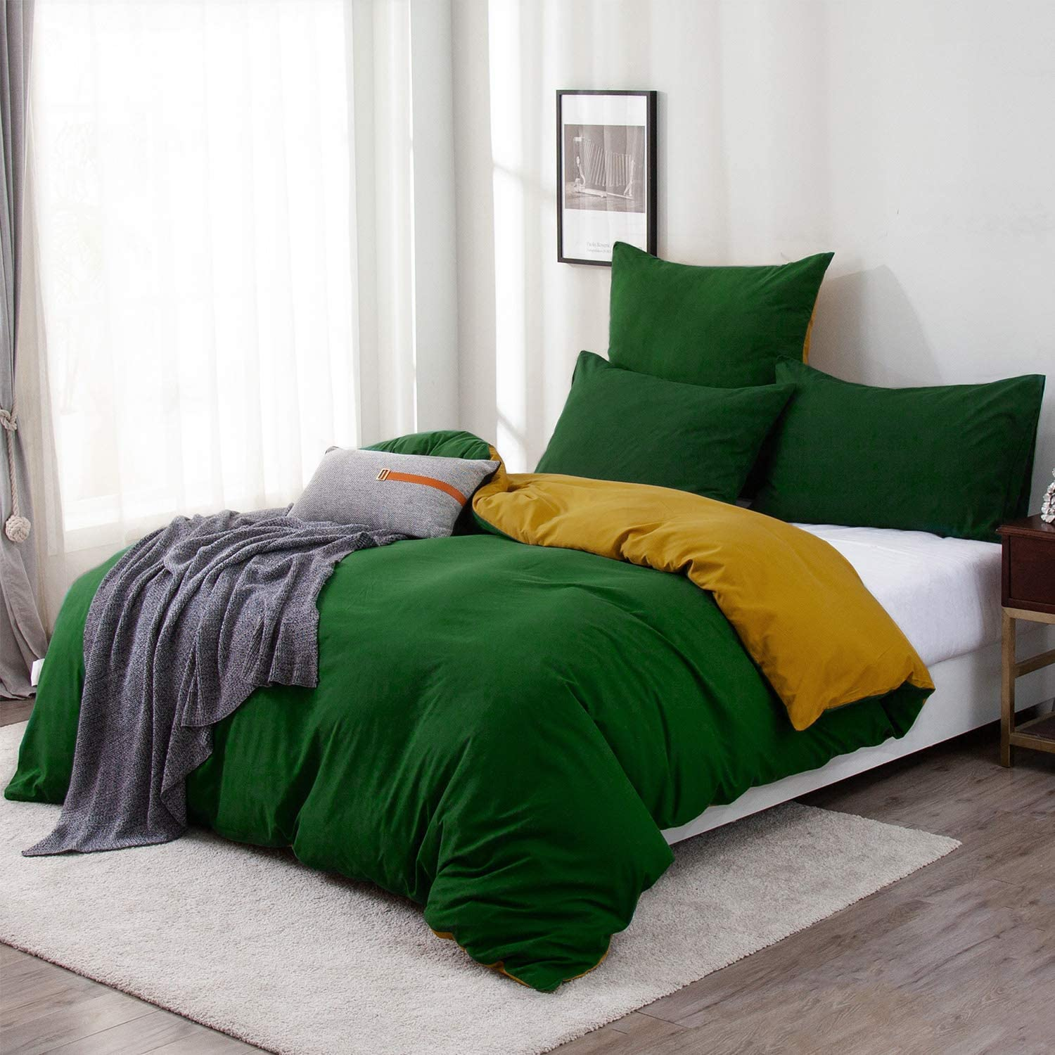 Ccoutuechen Dark Green Duvet Cover Set Twin Brushed Microfiber Comforter Cover Reversible Turmeric Solid Color Quilt Cover Soft Breathable Modern All Season Bedding Set With Zipper Home Kitchen