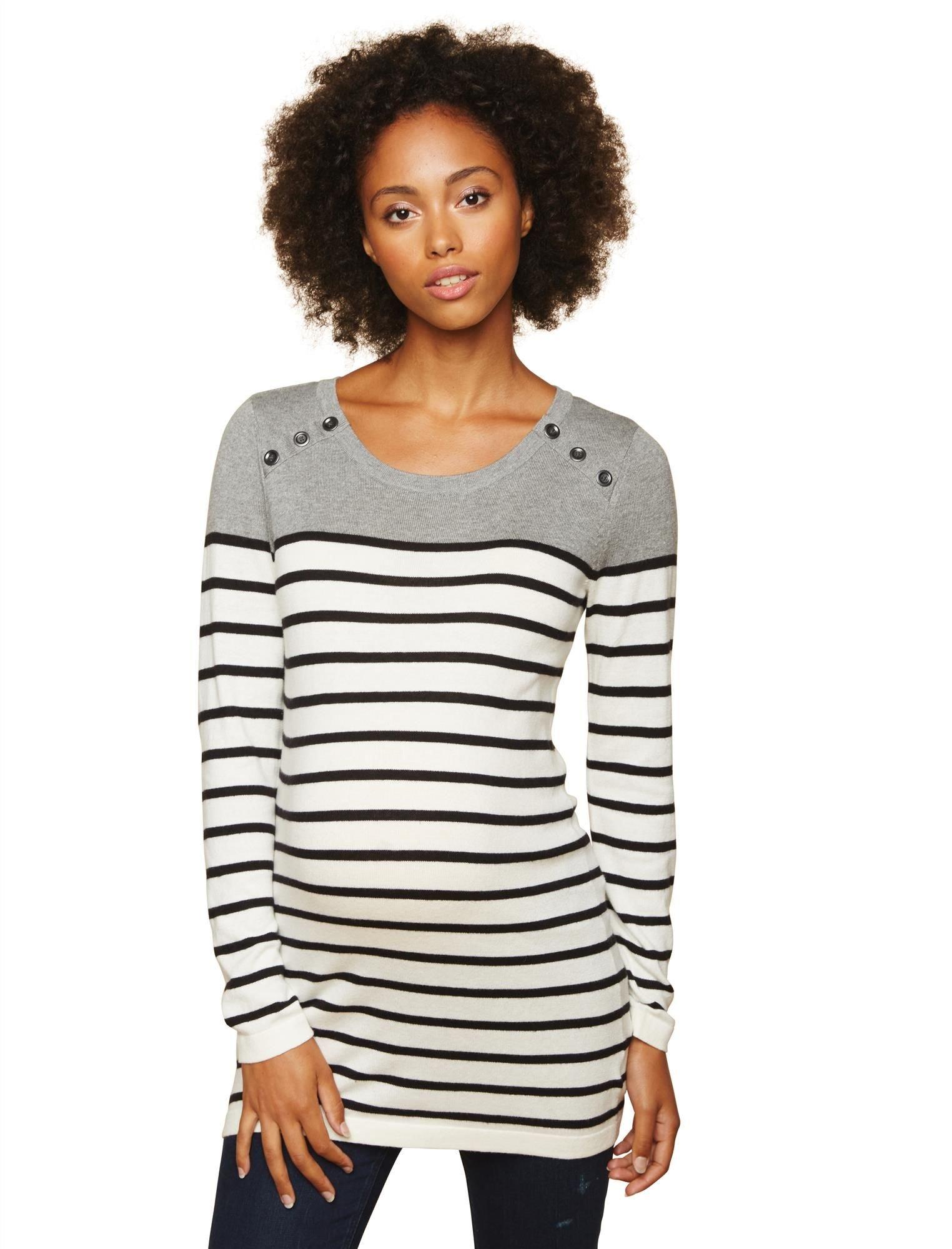 Motherhood Button Detail Maternity Sweater