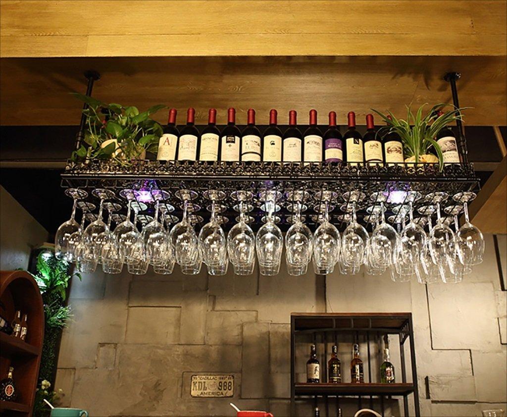 Zfusshop Wine Rack/Vintage Iron Hanging Wine Glass Holder/Creative Home Bar/Wine Rack Kitchen, bar, restaurant (Color : Black, Size : 8035cm) by Zfusshop