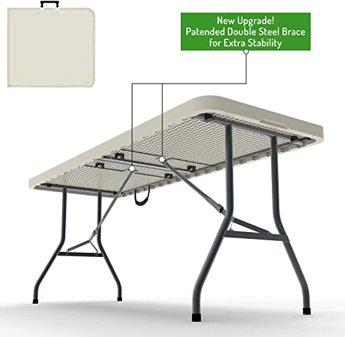 Ontario Furniture 8 Foot Plastic Folding Table – Folds in Half with a Carrying Handle Rectangular – Lightweight and Portable – White Resin with Sturdy Steel Frame – 30 x 96