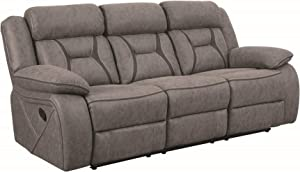 Coaster Home Furnishings Houston Motion Sofa with Contrast Stitching Grey, Brown Finish